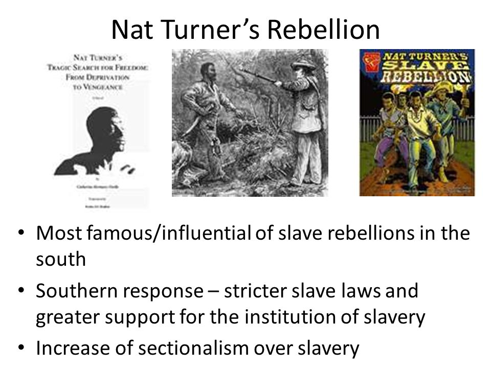 Nat Turner's Rebellion Most famous/influential of slave rebellions in the south Southern response – stricter slave laws and greater support for the in