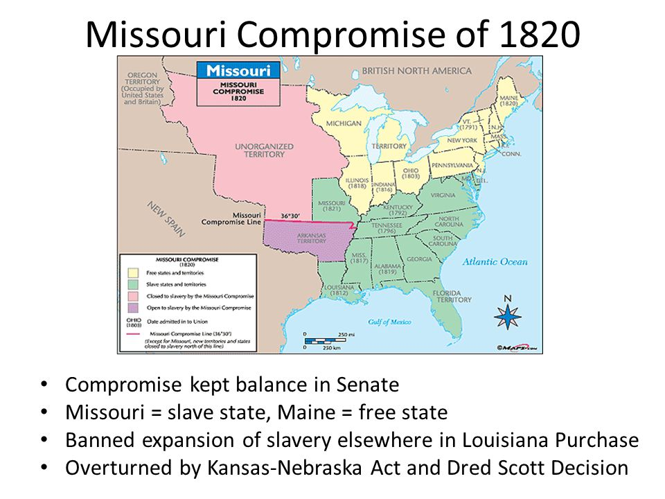 Missouri Compromise of 1820 Compromise kept balance in Senate Missouri = slave state, Maine = free state Banned expansion of slavery elsewhere in Loui