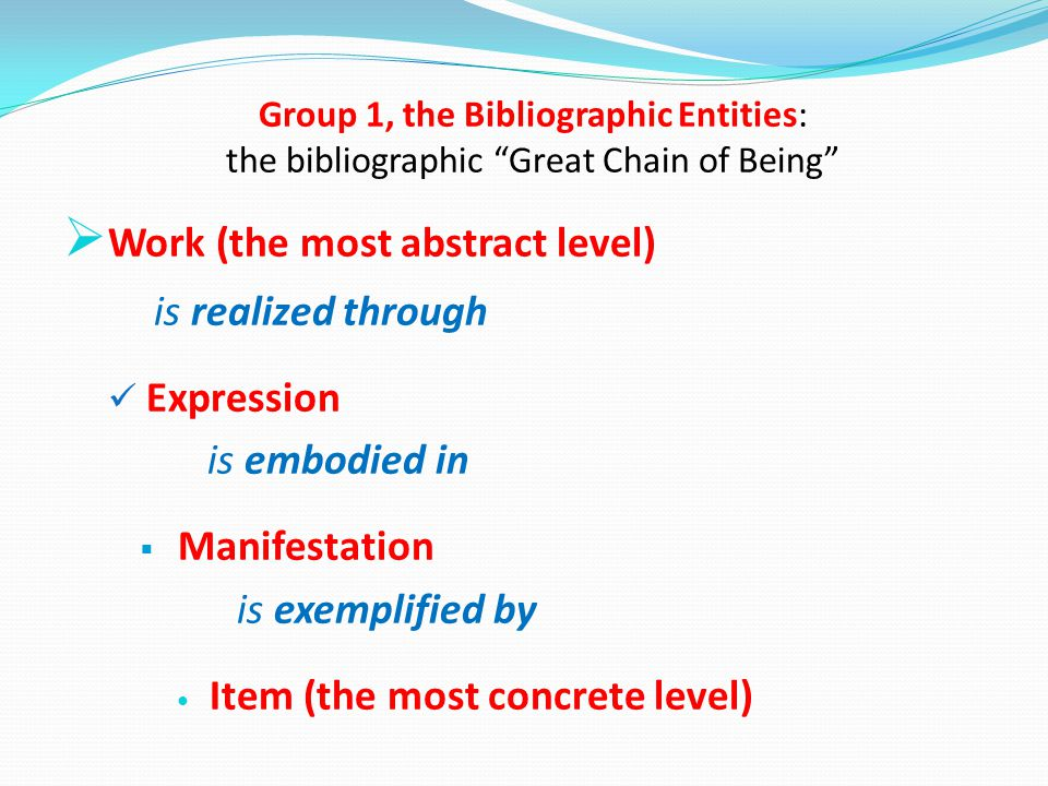 Group 1, the Bibliographic Entities: the bibliographic Great Chain of Being  Work (the most abstract level) is realized through Expression is embodied in  Manifestation is exemplified by Item (the most concrete level)