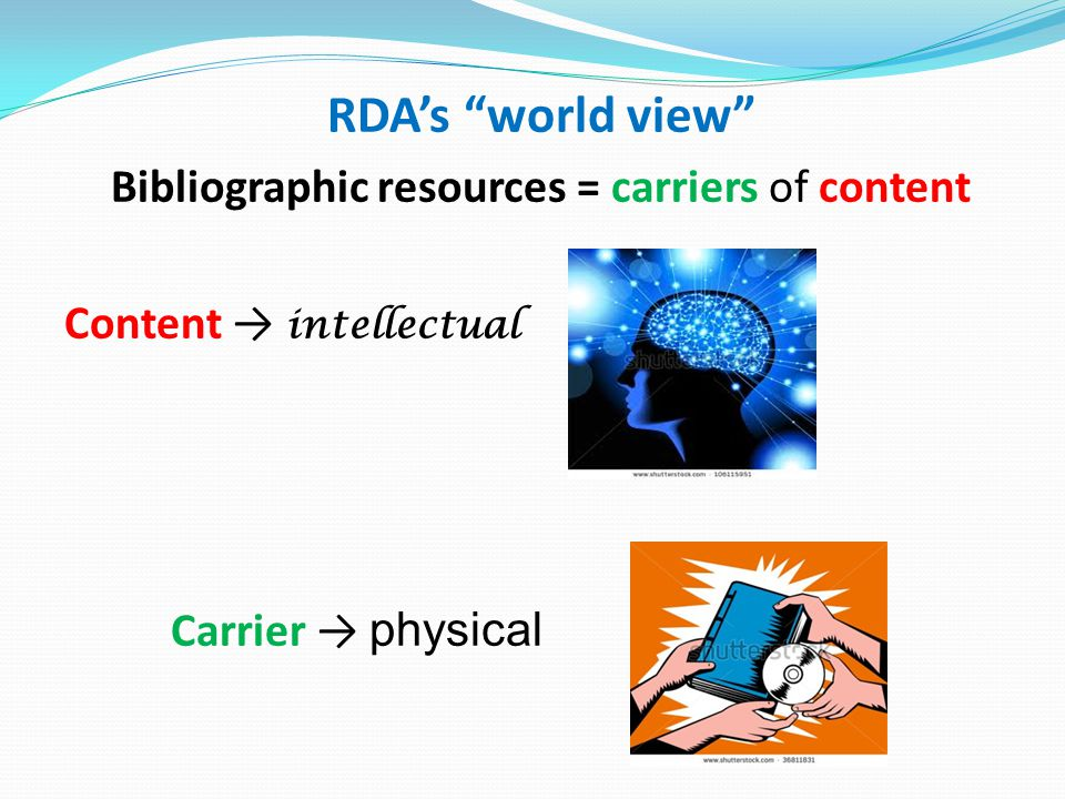 RDA's world view Bibliographic resources = carriers of content Content → intellectual Carrier → physical