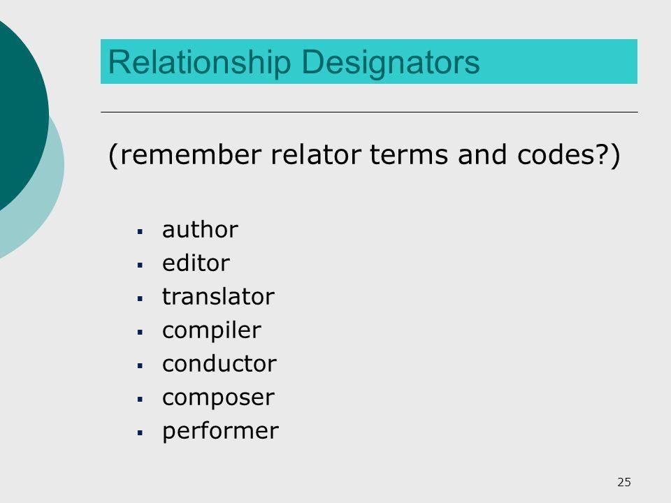 Relationship Designators (remember relator terms and codes?)  author  editor  translator  compiler  conductor  composer  performer 25