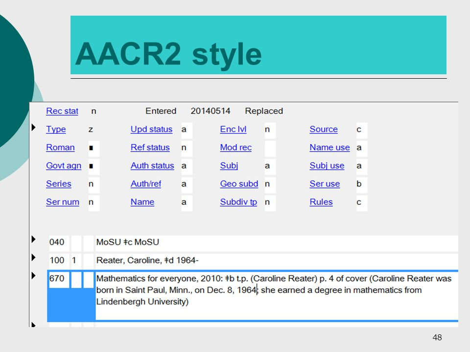 AACR2 style 48