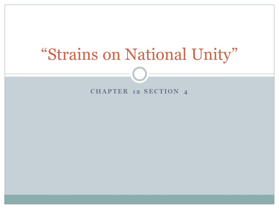 """CHAPTER 12 SECTION 4 """"Strains on National Unity"""""""