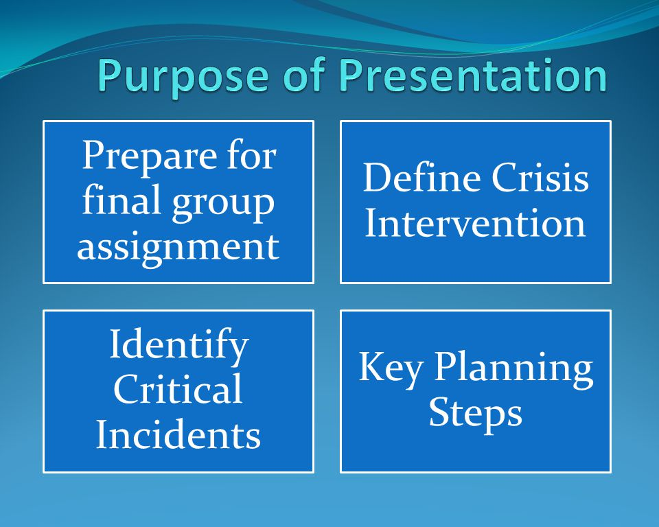 Prepare for final group assignment Define Crisis Intervention Identify Critical Incidents Key Planning Steps