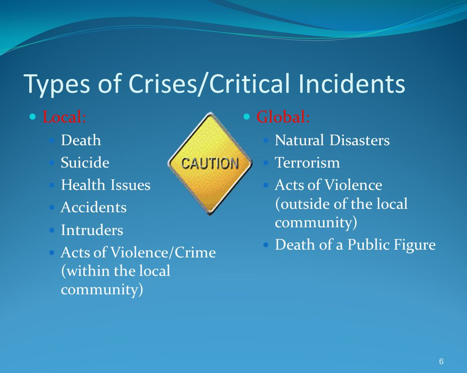 Because of the spontaneous nature of crisis, it can upset the balance of an entire school, district and/or community.