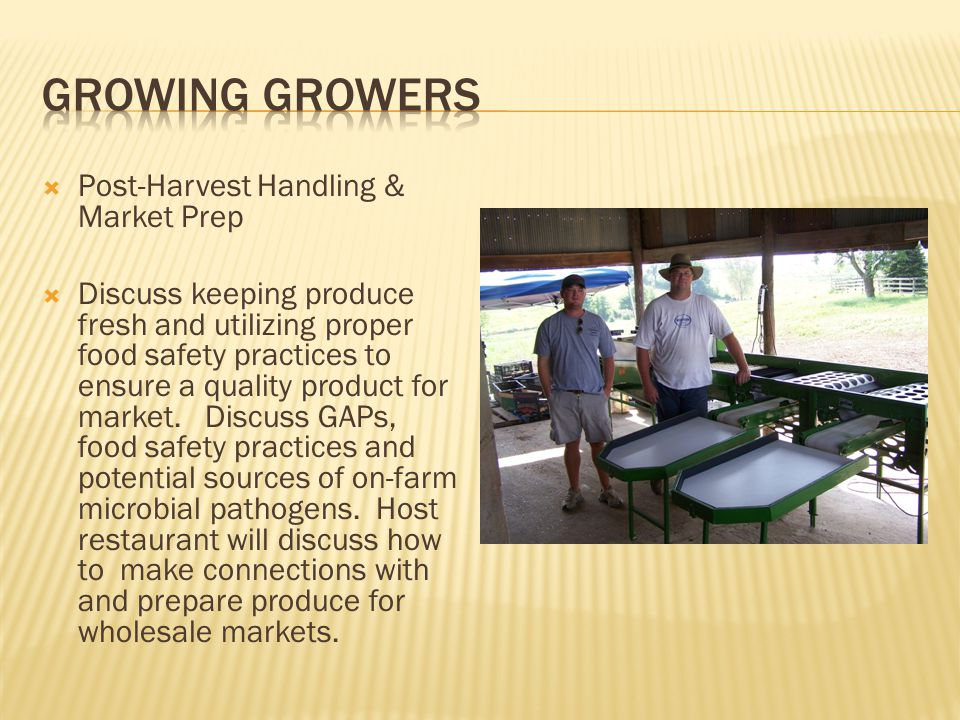  Post-Harvest Handling & Market Prep  Discuss keeping produce fresh and utilizing proper food safety practices to ensure a quality product for market.