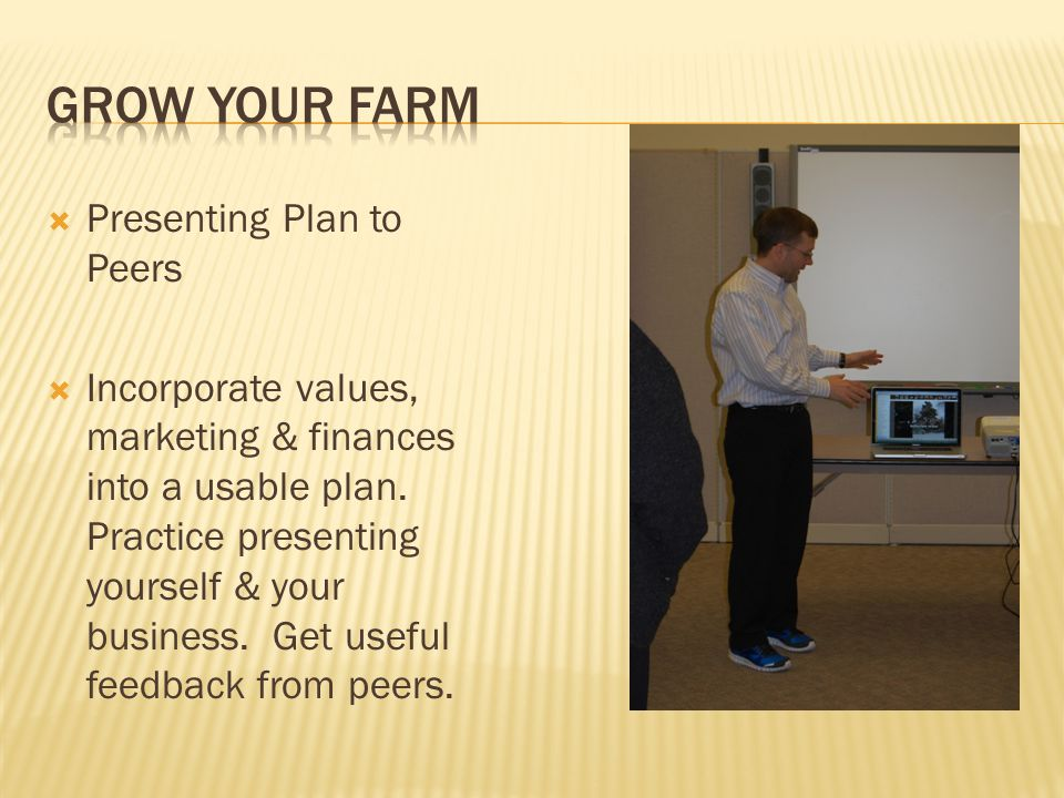  Presenting Plan to Peers  Incorporate values, marketing & finances into a usable plan.