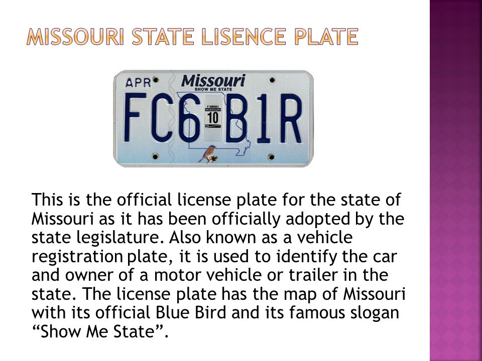 This is the official license plate for the state of Missouri as it has been officially adopted by the state legislature.