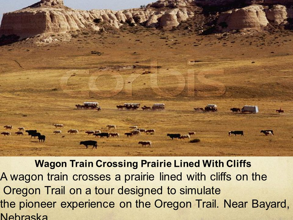 Wagon Train Crossing Prairie Lined With Cliffs A wagon train crosses a prairie lined with cliffs on the Oregon Trail on a tour designed to simulate th