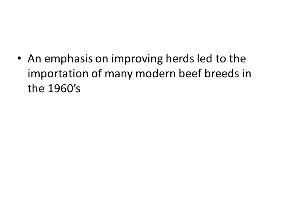 An emphasis on improving herds led to the importation of many modern beef breeds in the 1960's