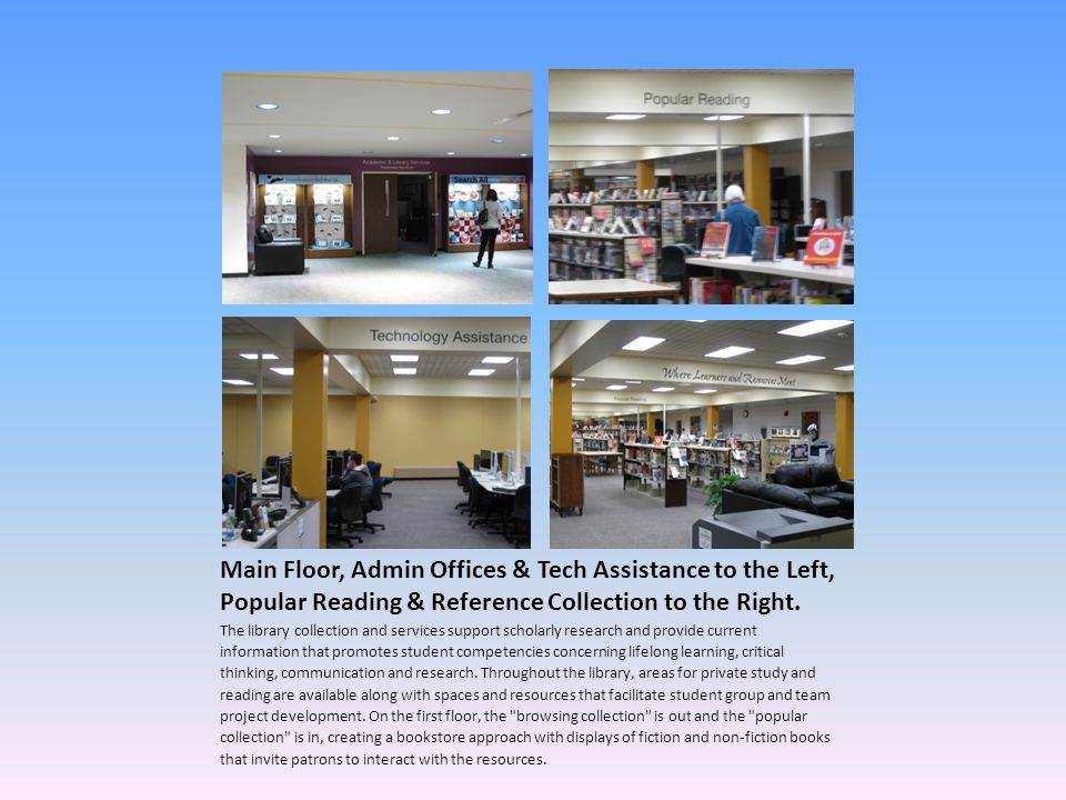 Main Floor, Admin Offices & Tech Assistance to the Left, Popular Reading & Reference Collection to the Right.