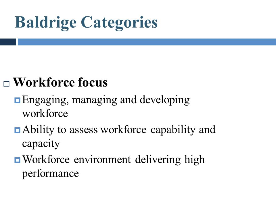  Workforce focus  Engaging, managing and developing workforce  Ability to assess workforce capability and capacity  Workforce environment deliveri