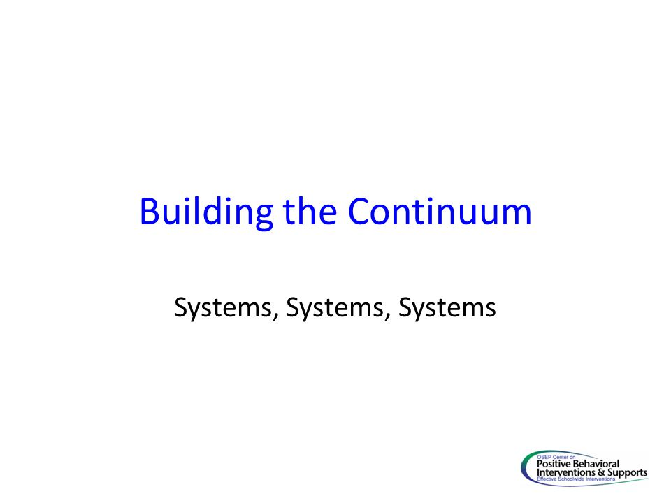 Building the Continuum Systems, Systems, Systems