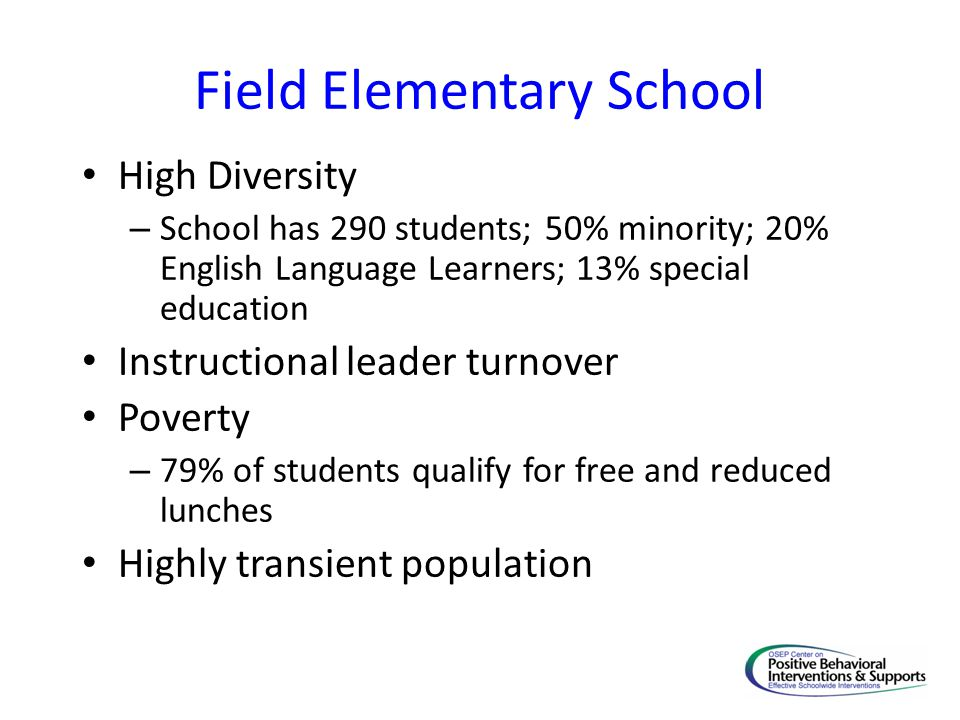 High Diversity – School has 290 students; 50% minority; 20% English Language Learners; 13% special education Instructional leader turnover Poverty – 79% of students qualify for free and reduced lunches Highly transient population
