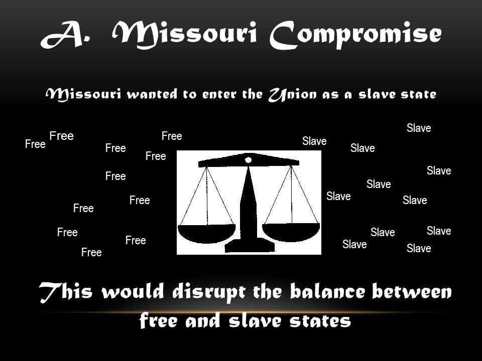 Missouri wanted to enter the Union as a slave state This would disrupt the balance between free and slave states Free Slave A.