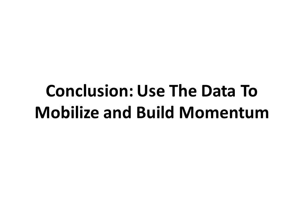 Conclusion: Use The Data To Mobilize and Build Momentum
