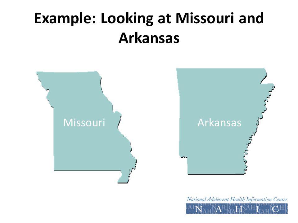 Example: Looking at Missouri and Arkansas MissouriArkansas