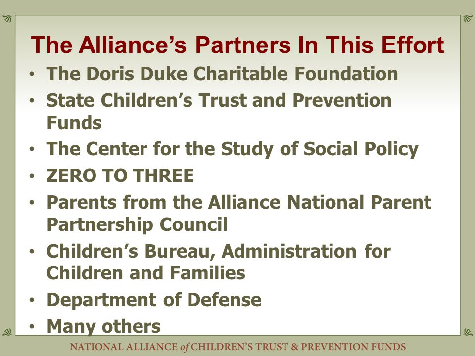 The Alliance's Partners In This Effort The Doris Duke Charitable Foundation State Children's Trust and Prevention Funds The Center for the Study of Social Policy ZERO TO THREE Parents from the Alliance National Parent Partnership Council Children's Bureau, Administration for Children and Families Department of Defense Many others