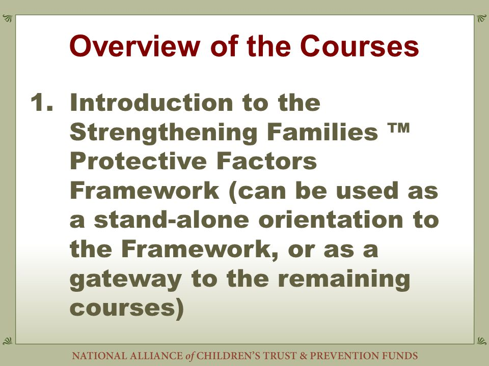 Overview of the Courses 1.Introduction to the Strengthening Families ™ Protective Factors Framework (can be used as a stand-alone orientation to the Framework, or as a gateway to the remaining courses)