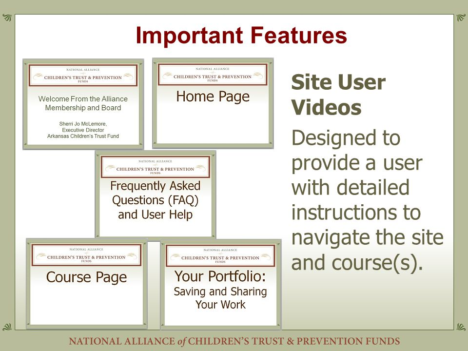 Important Features Site User Videos Designed to provide a user with detailed instructions to navigate the site and course(s).