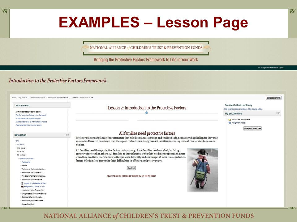 EXAMPLES – Lesson Page