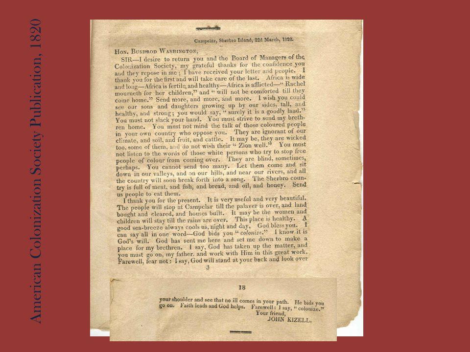American Colonization Society Publication, 1820