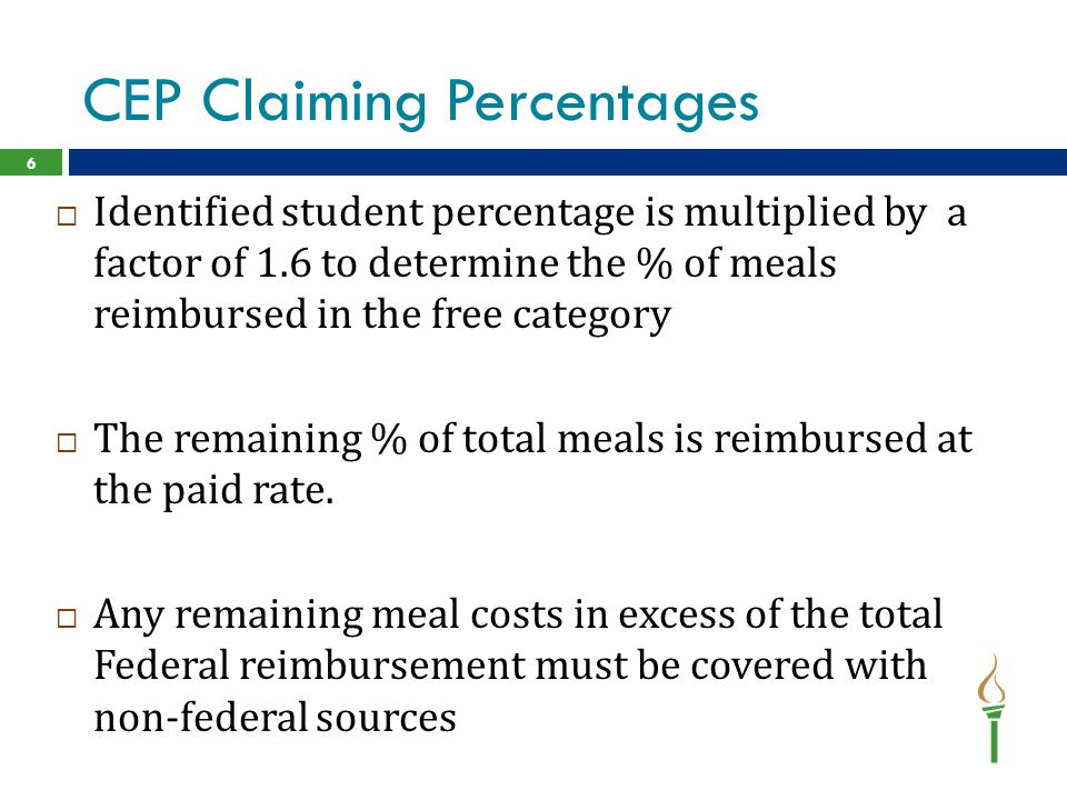 CEP Claiming Percentages  Identified student percentage is multiplied by a factor of 1.6 to determine the % of meals reimbursed in the free category