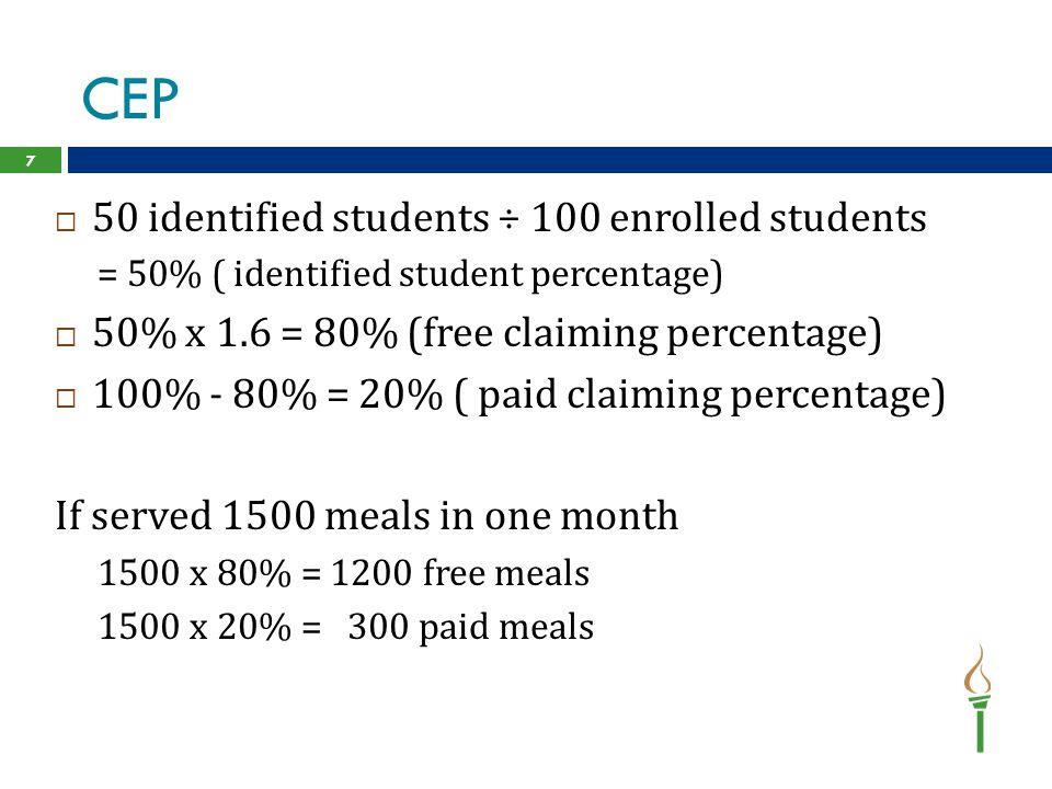 CEP 7  50 identified students ÷ 100 enrolled students = 50% ( identified student percentage)  50% x 1.6 = 80% (free claiming percentage)  100% - 80