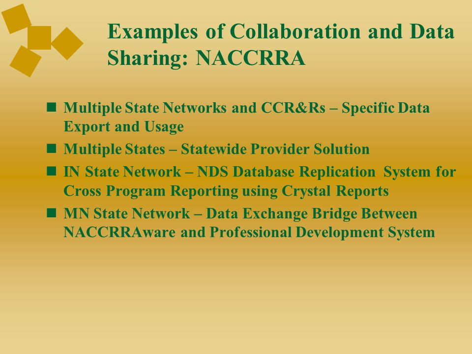 Examples of Collaboration and Data Sharing: NACCRRA Multiple State Networks and CCR&Rs – Specific Data Export and Usage Multiple States – Statewide Pr