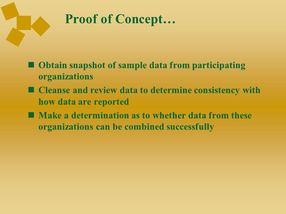 Proof of Concept… Obtain snapshot of sample data from participating organizations Cleanse and review data to determine consistency with how data are r