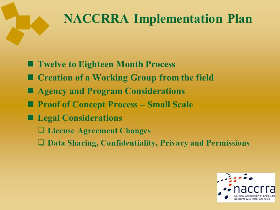 NACCRRA Implementation Plan Twelve to Eighteen Month Process Creation of a Working Group from the field Agency and Program Considerations Proof of Con
