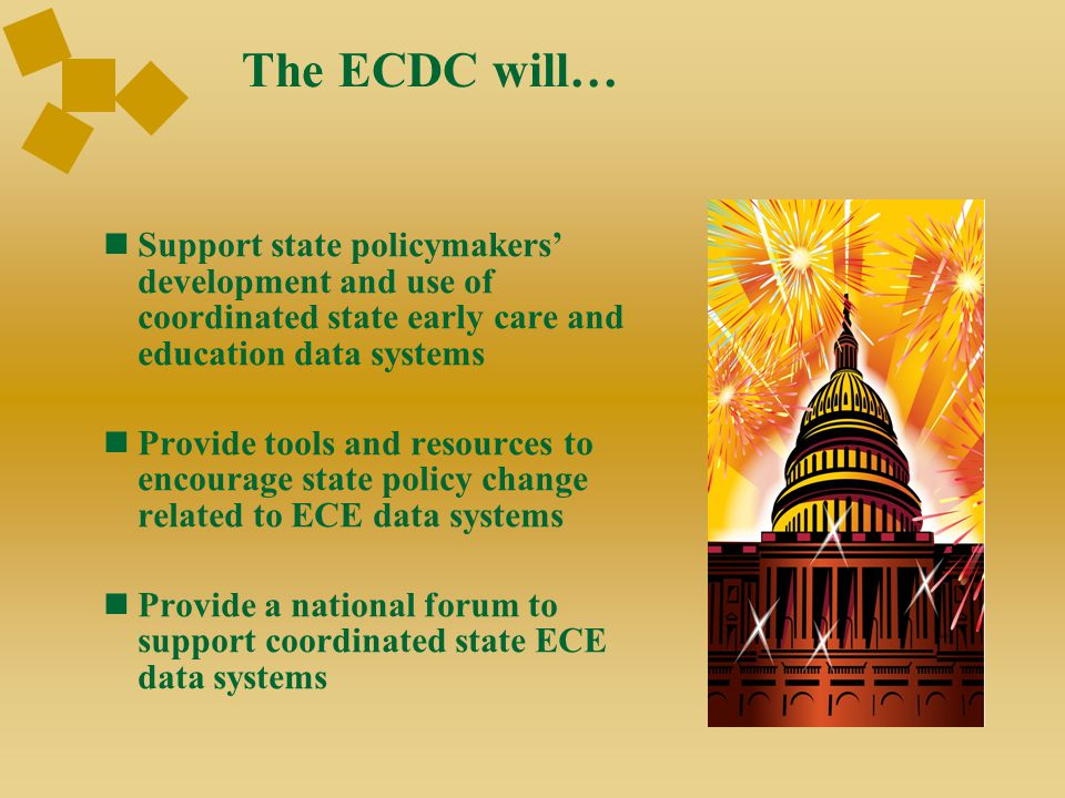 ECDC Theory of Action Start with policy questions Guiding principles  Compliance to improvement  Fragmented to coordinated  Snapshot to longitudinal 10 fundamentals Track state progress related to the fundamentals
