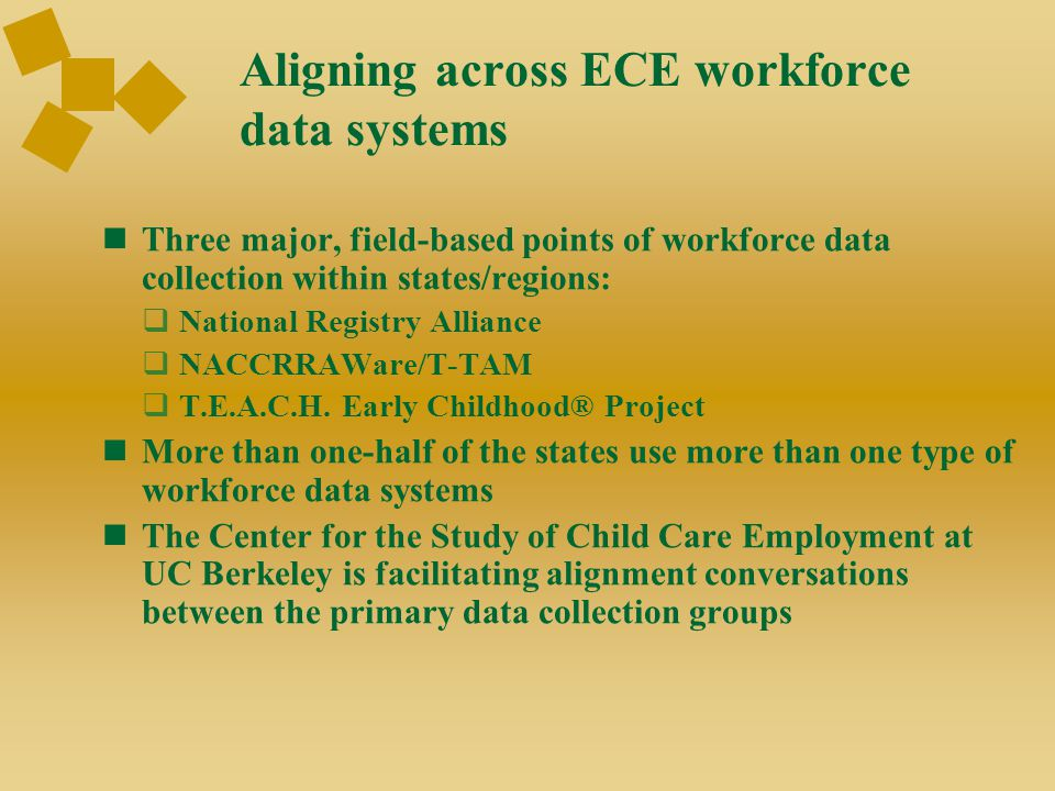 Aligning across ECE workforce data systems Three major, field-based points of workforce data collection within states/regions:  National Registry All