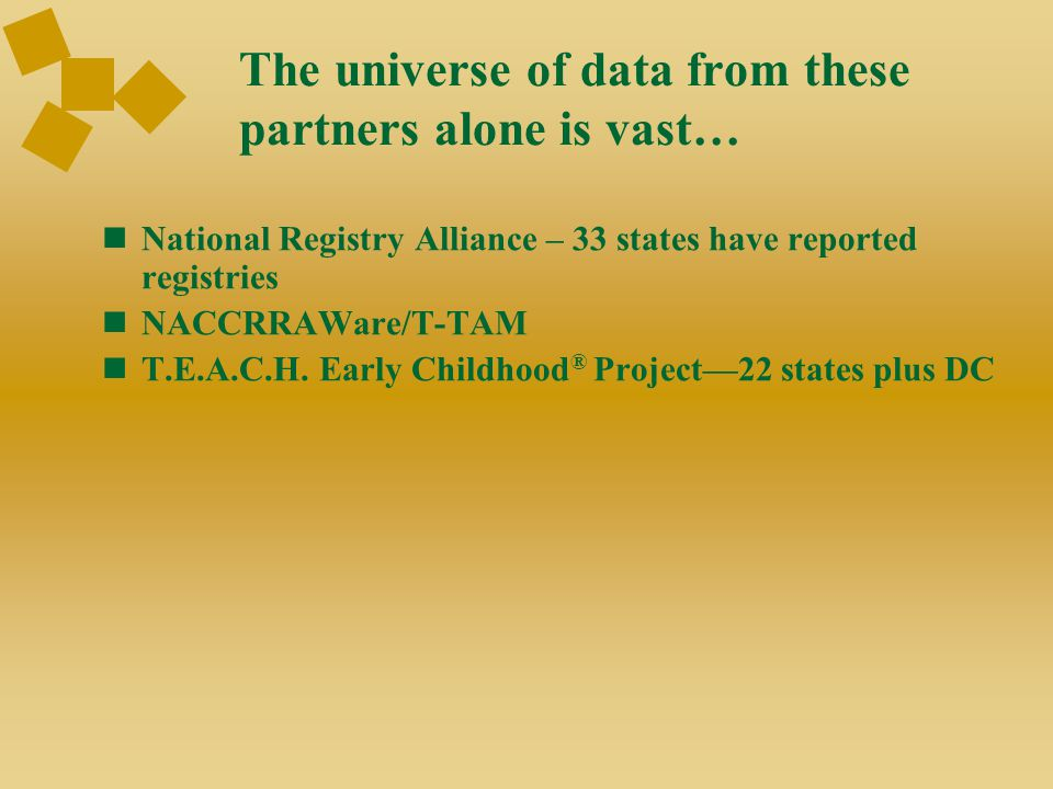 National Registry Alliance Vision State career development systems for a well-trained, supported, and adequately compensated early childhood workforce Enhances and supports the work of state early childhood registries by providing an interactive forum for networking, and information and strategy exchanges Systems that are:  High-Quality  Coordinated  Documented  Accessible