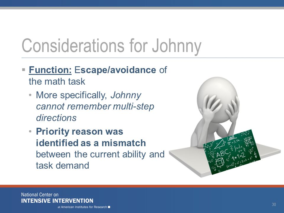  Function: Escape/avoidance of the math task More specifically, Johnny cannot remember multi-step directions Priority reason was identified as a mism