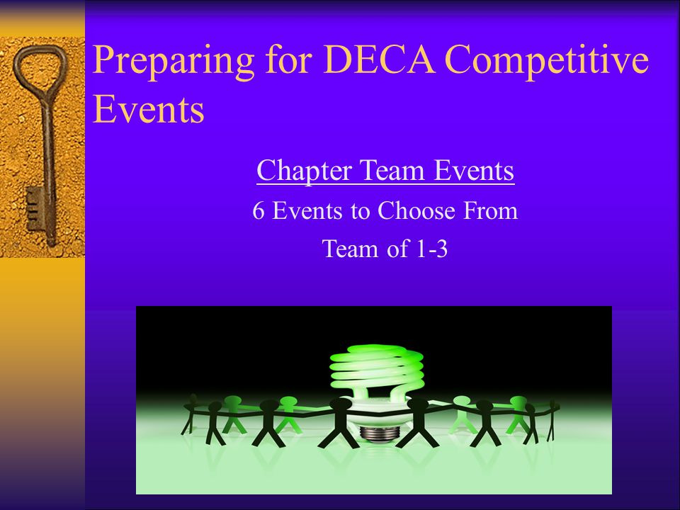 Preparing for DECA Competitive Events Chapter Team Events 6 Events to Choose From Team of 1-3