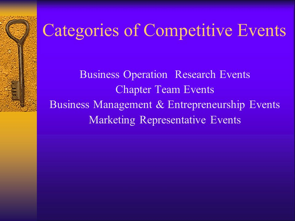 Categories of Competitive Events Business Operation Research Events Chapter Team Events Business Management & Entrepreneurship Events Marketing Representative Events