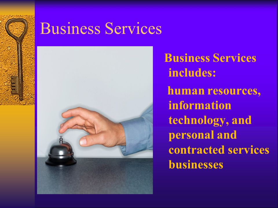 Business Services Business Services includes: human resources, information technology, and personal and contracted services businesses