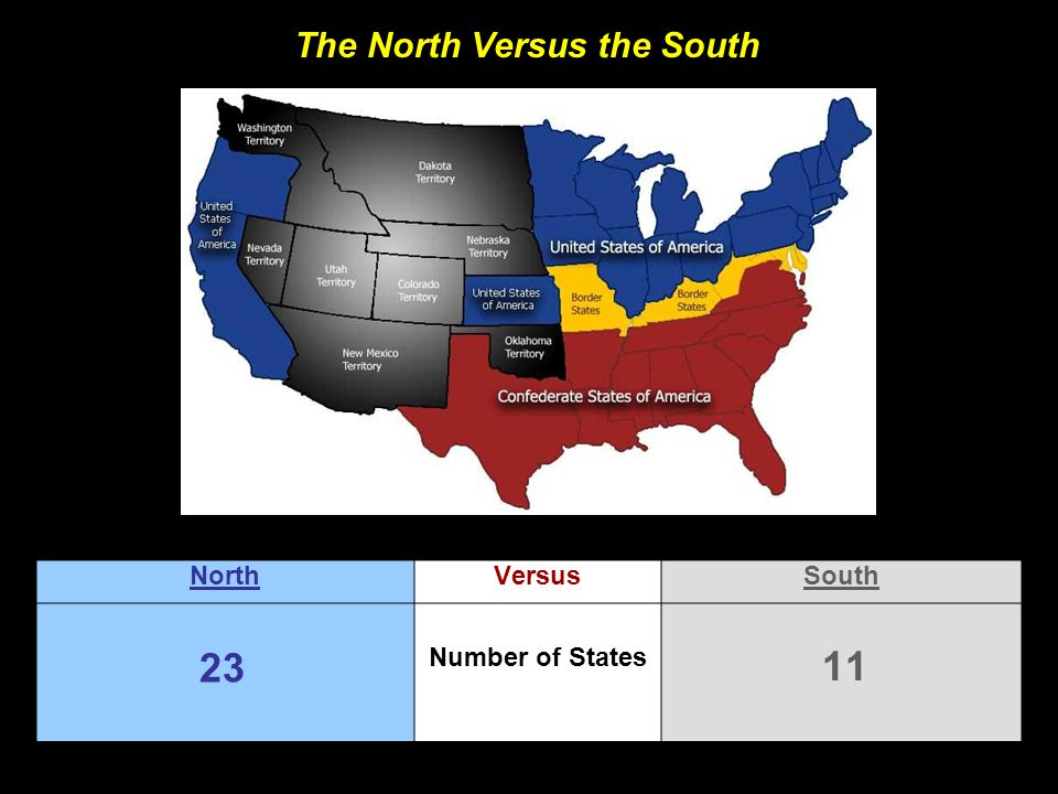 The North Versus the South NorthVersusSouth Number of States 23 11