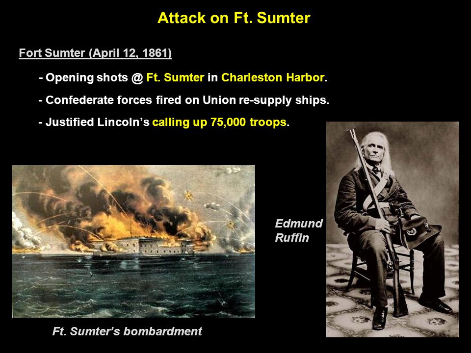 Attack on Ft.Sumter Fort Sumter (April 12, 1861) - Opening shots @ Ft.