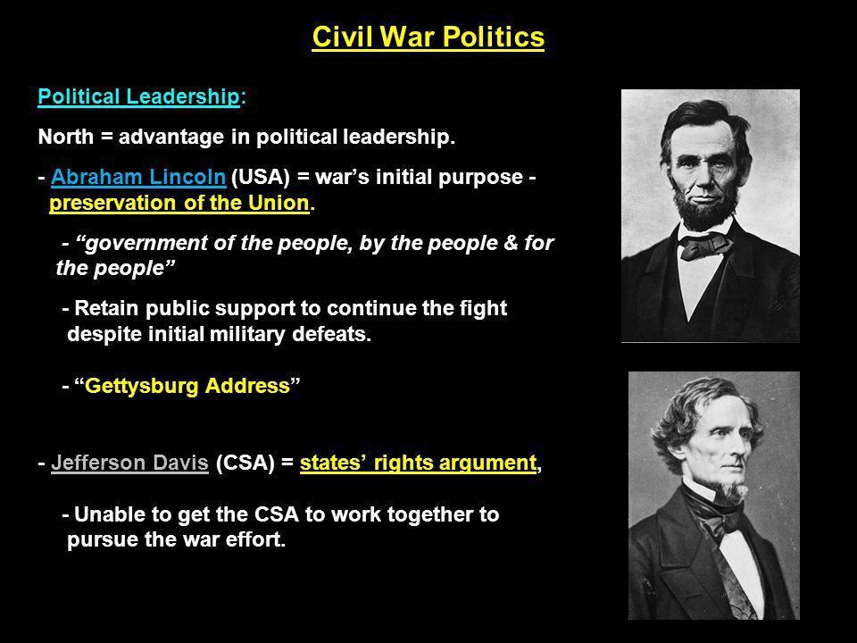 Political Leadership: North = advantage in political leadership.