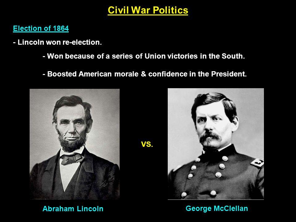 Civil War Politics Election of 1864 - Lincoln won re-election.