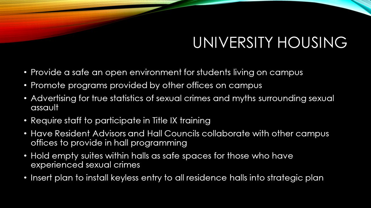 UNIVERSITY HOUSING Provide a safe an open environment for students living on campus Promote programs provided by other offices on campus Advertising f