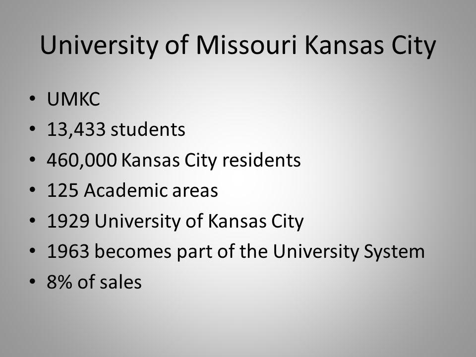 University of Missouri Kansas City UMKC 13,433 students 460,000 Kansas City residents 125 Academic areas 1929 University of Kansas City 1963 becomes part of the University System 8% of sales