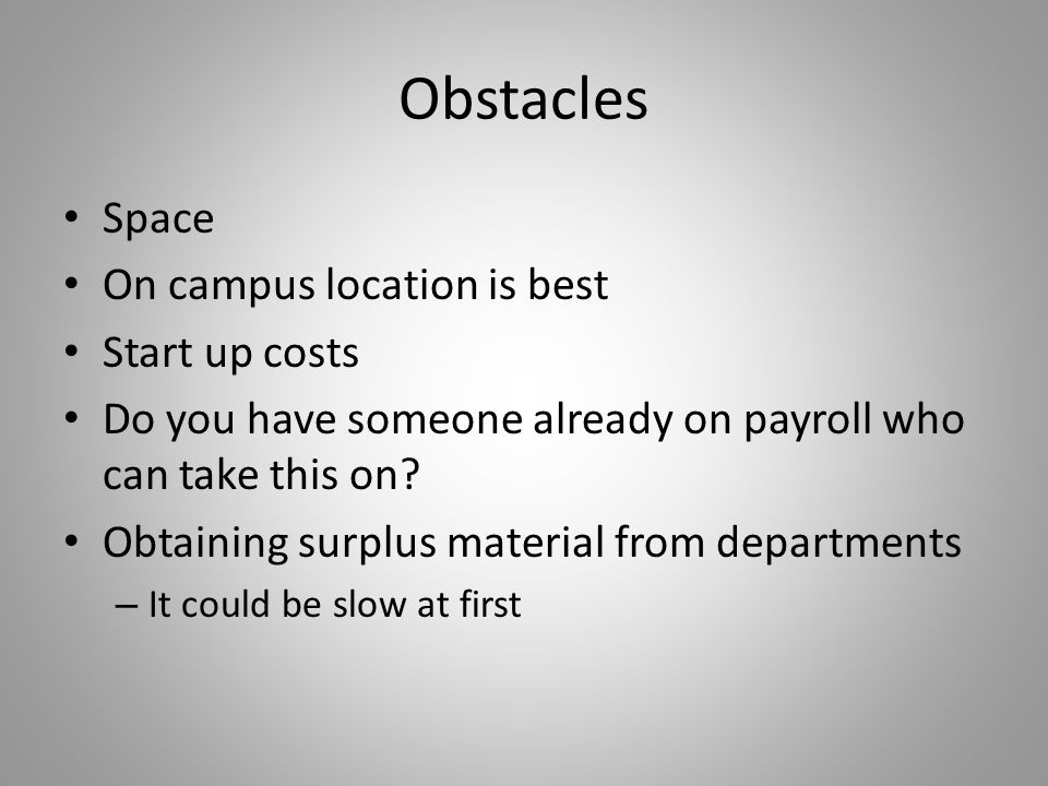 Obstacles Space On campus location is best Start up costs Do you have someone already on payroll who can take this on.