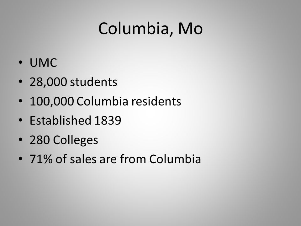 Columbia, Mo UMC 28,000 students 100,000 Columbia residents Established 1839 280 Colleges 71% of sales are from Columbia