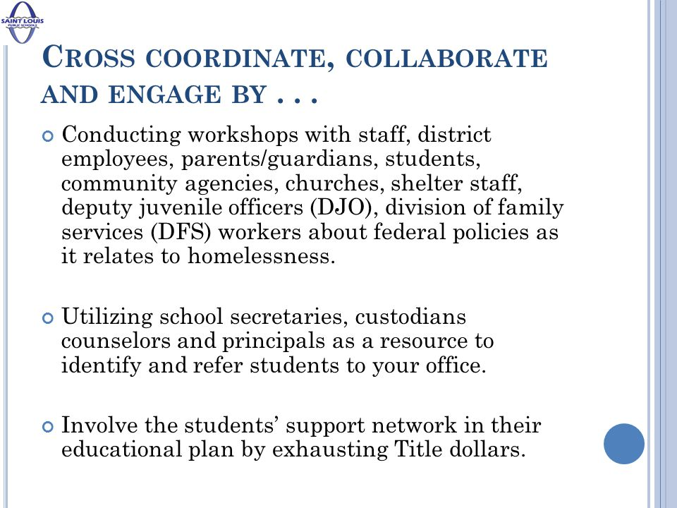 C ROSS COORDINATE, COLLABORATE AND ENGAGE BY...
