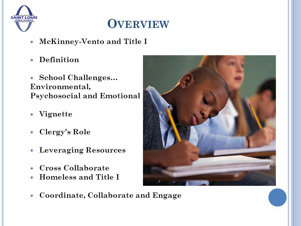 O VERVIEW McKinney-Vento and Title I Definition School Challenges… Environmental, Psychosocial and Emotional Vignette Clergy's Role Leveraging Resources Cross Collaborate Homeless and Title I Coordinate, Collaborate and Engage