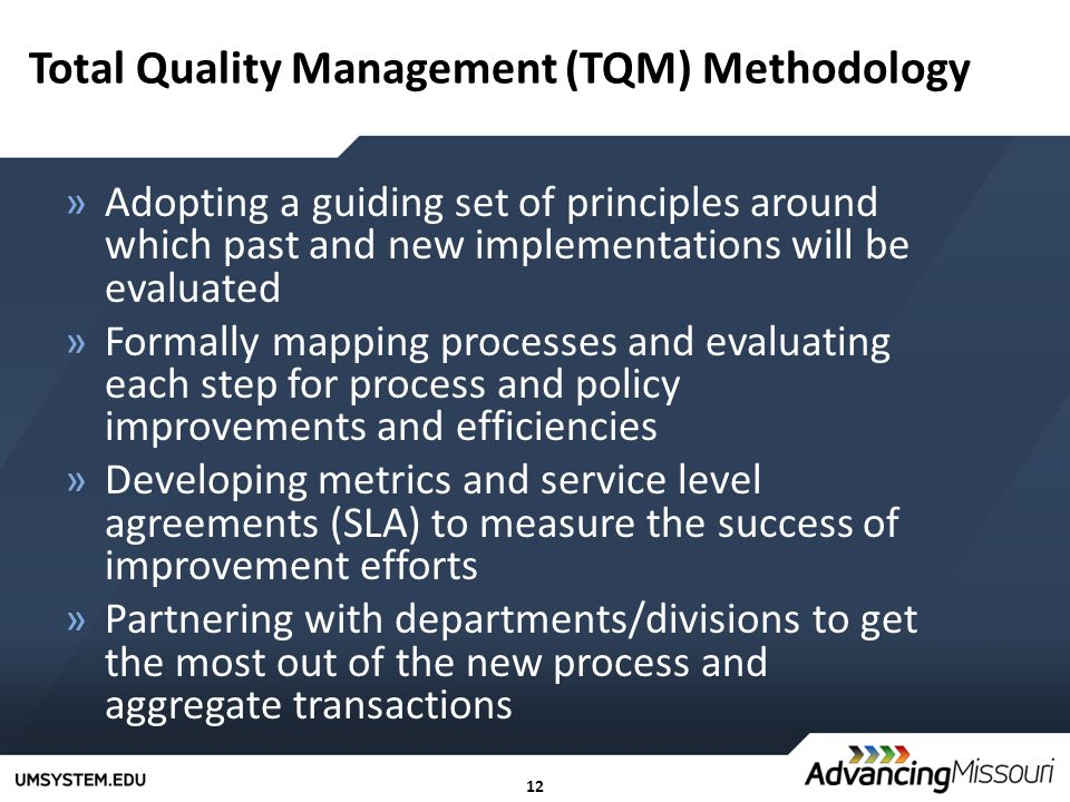 12 Total Quality Management (TQM) Methodology »Adopting a guiding set of principles around which past and new implementations will be evaluated »Formally mapping processes and evaluating each step for process and policy improvements and efficiencies »Developing metrics and service level agreements (SLA) to measure the success of improvement efforts »Partnering with departments/divisions to get the most out of the new process and aggregate transactions
