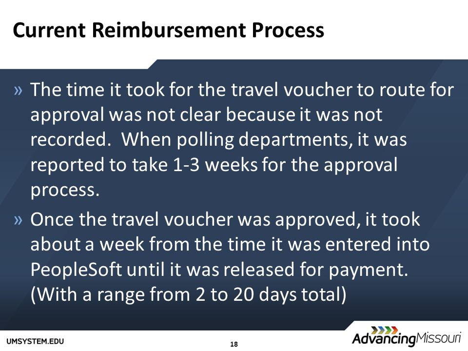18 Current Reimbursement Process »The time it took for the travel voucher to route for approval was not clear because it was not recorded. When pollin